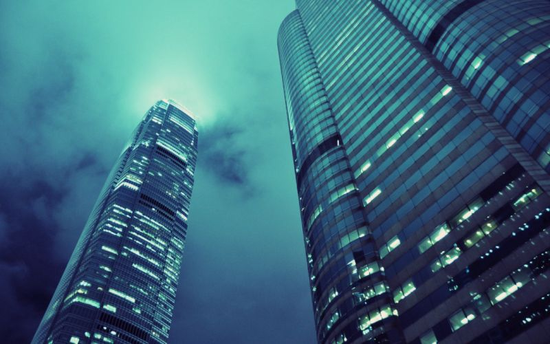 Night skyscrapers cities skycrawlers wallpaper