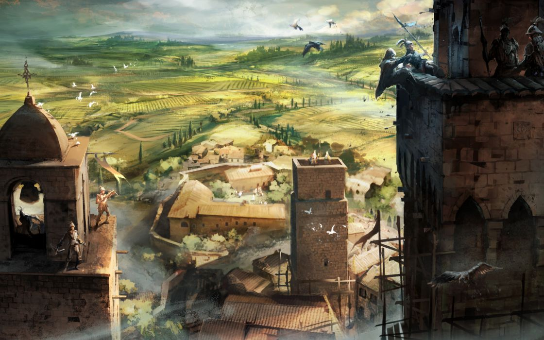 Castles birds italy artwork bells assasins creed crossbows farmland villa wallpaper