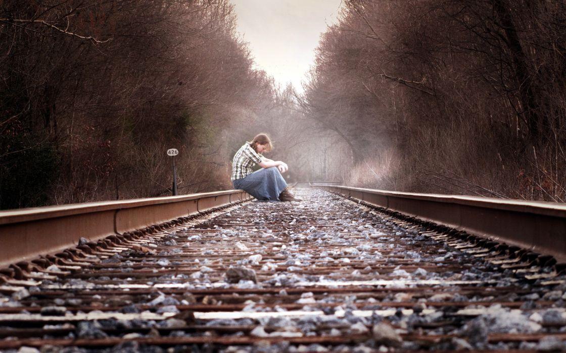 Women forest people railroad tracks wallpaper