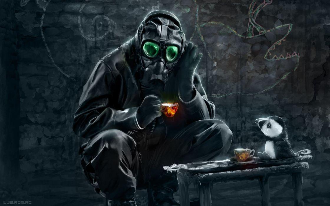 Paintings gas masks masks artwork romantically apocalyptic vitaly s alexius wallpaper