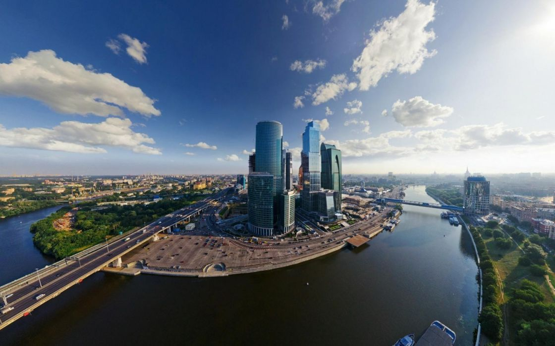 Cityscapes russia skyscrapers moscow fisheye effect blue skies wallpaper