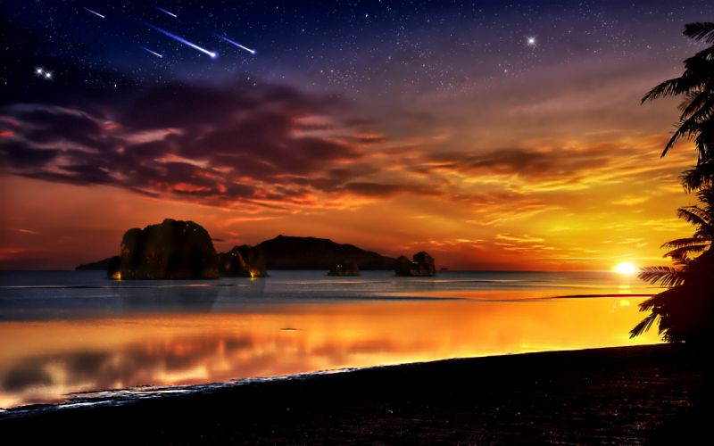 Sunset ocean rocks fantasy art scenic shooting star skyscapes wallpaper