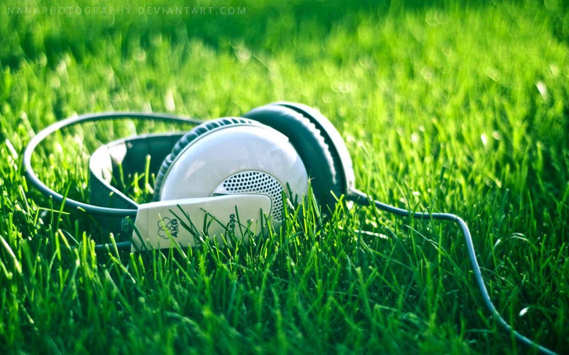 Headphones nature music grass akg acoustics wallpaper