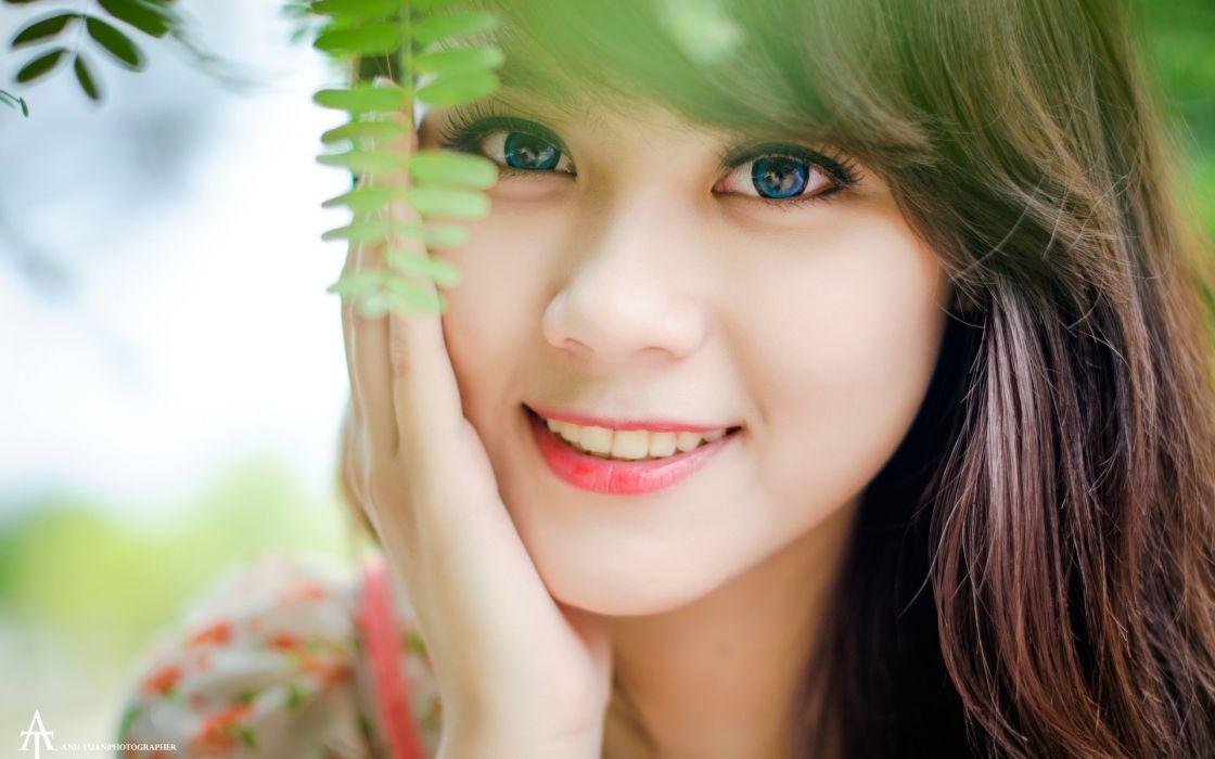 Brunettes women blue eyes models asians faces wallpaper