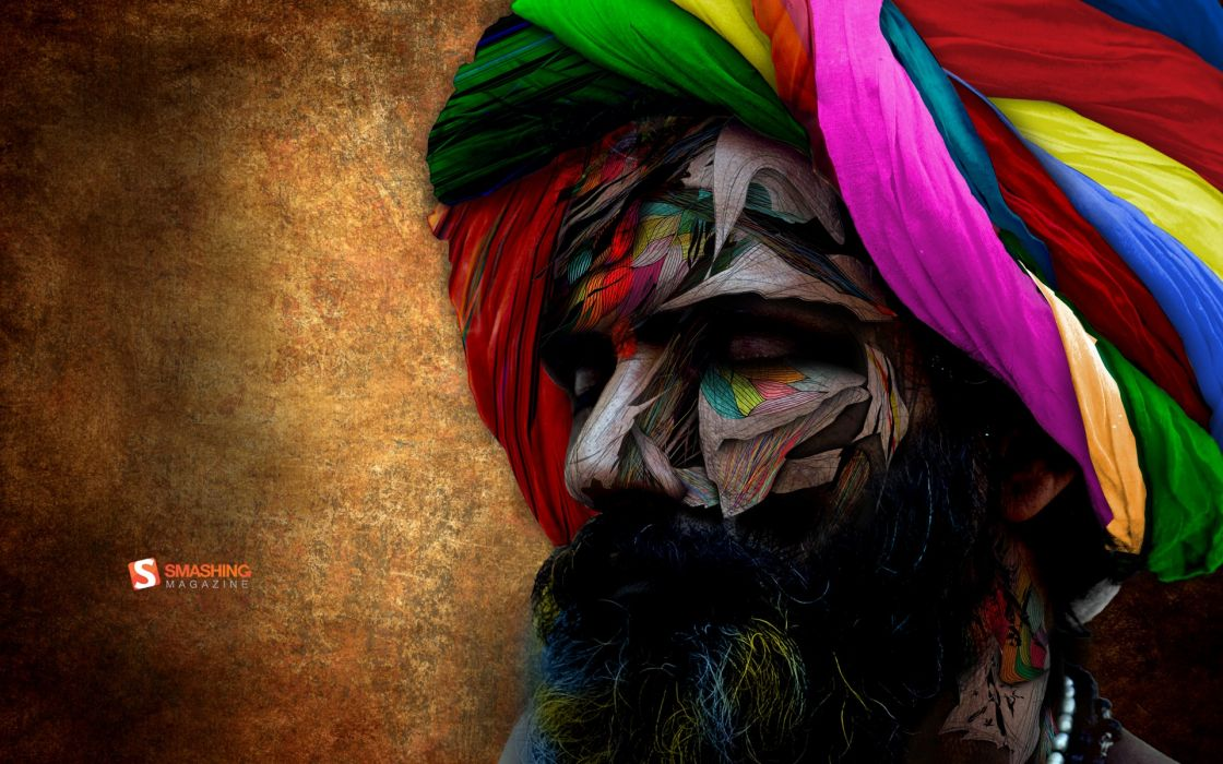 Abstract multicolor men india beard chromatic turbans wallpaper