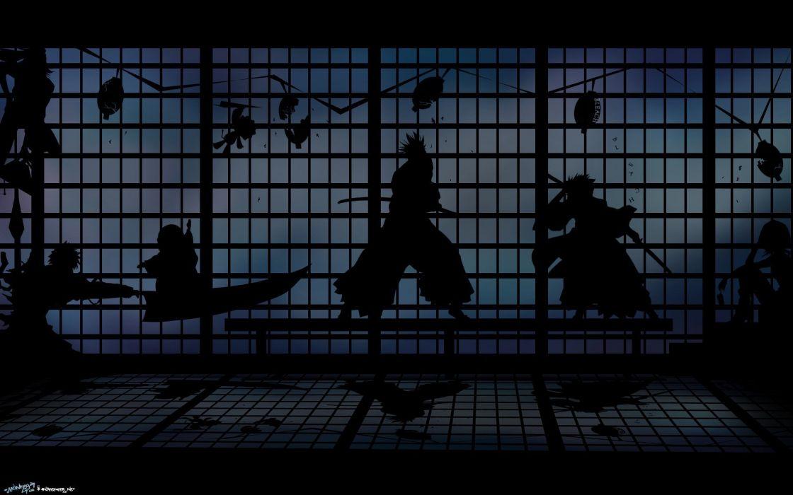 Bleach kurosaki ichigo silhouette window nelliel tu odelschwanck shihouin yoruichi kuchiki rukia hitsugaya toshiro anime abarai renji manga wallpaper