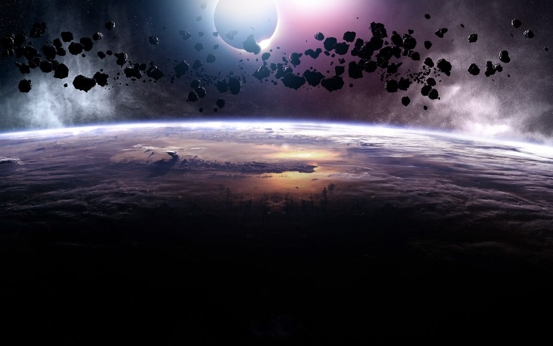 Outer space eclipse asteroids meteorite space art wallpaper
