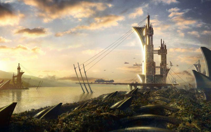 Landscapes fantasy art science fiction wallpaper