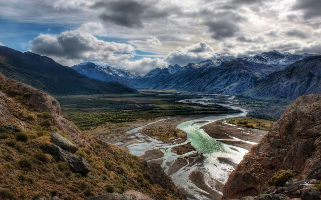 Mountains clouds landscapes nature hdr photography wallpaper