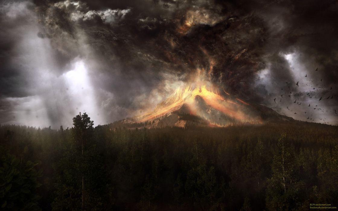Landscapes volcanoes cataclysm eruption wallpaper