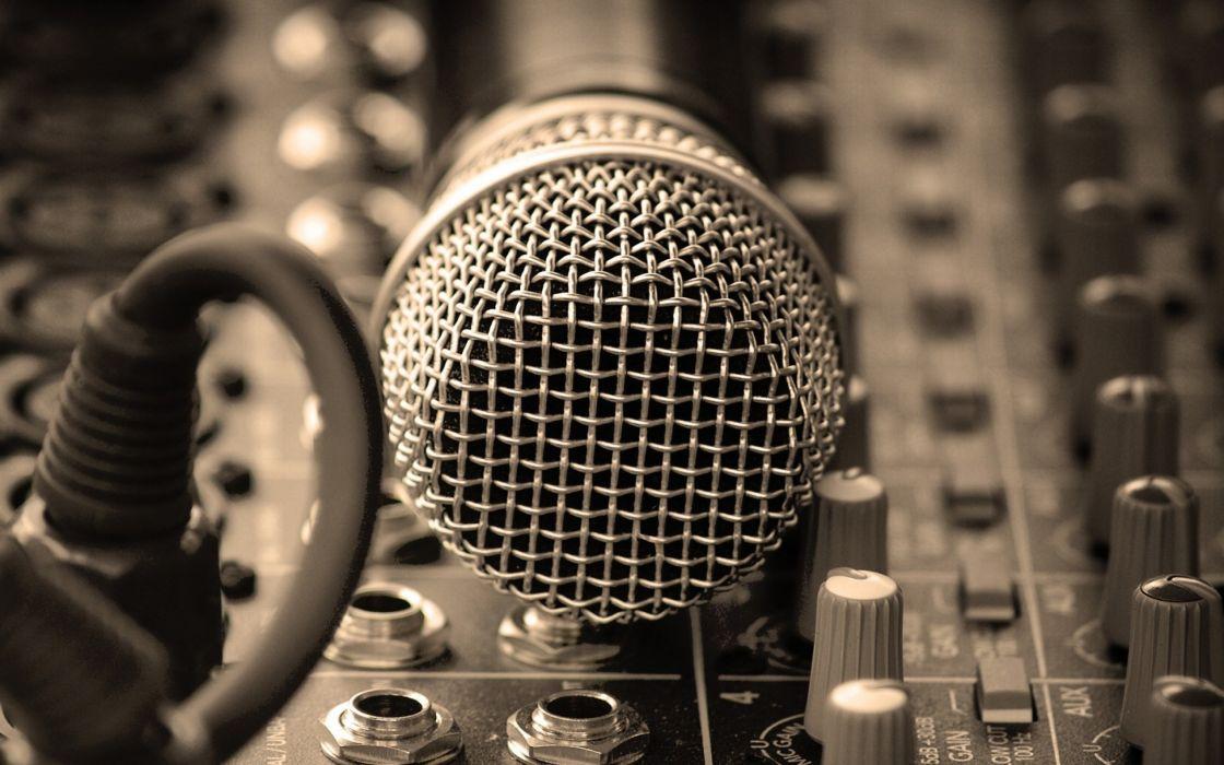Music studio microphones wallpaper