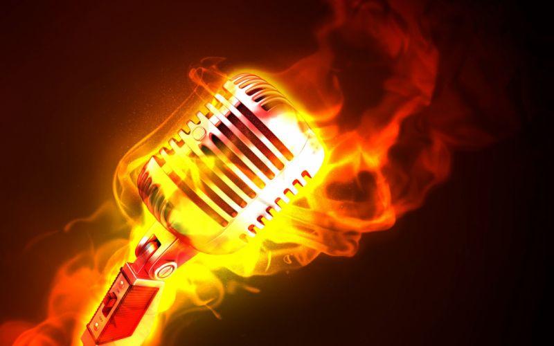 Fire microphones photomanipulations wallpaper