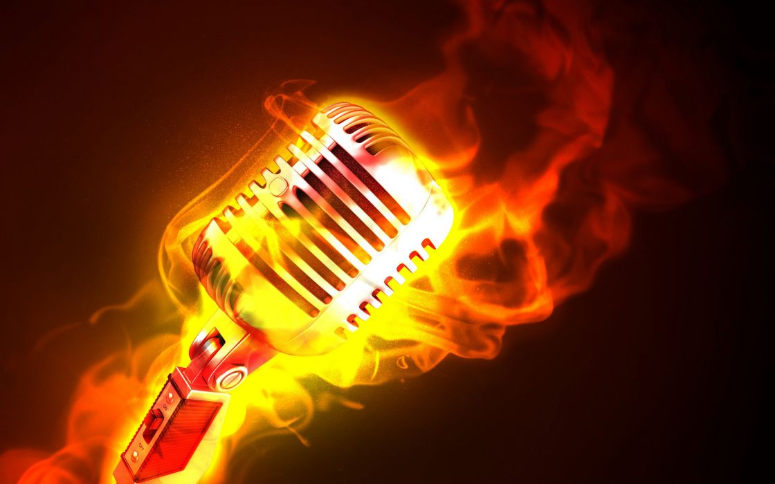 Fire microphones photomanipulations wallpaper