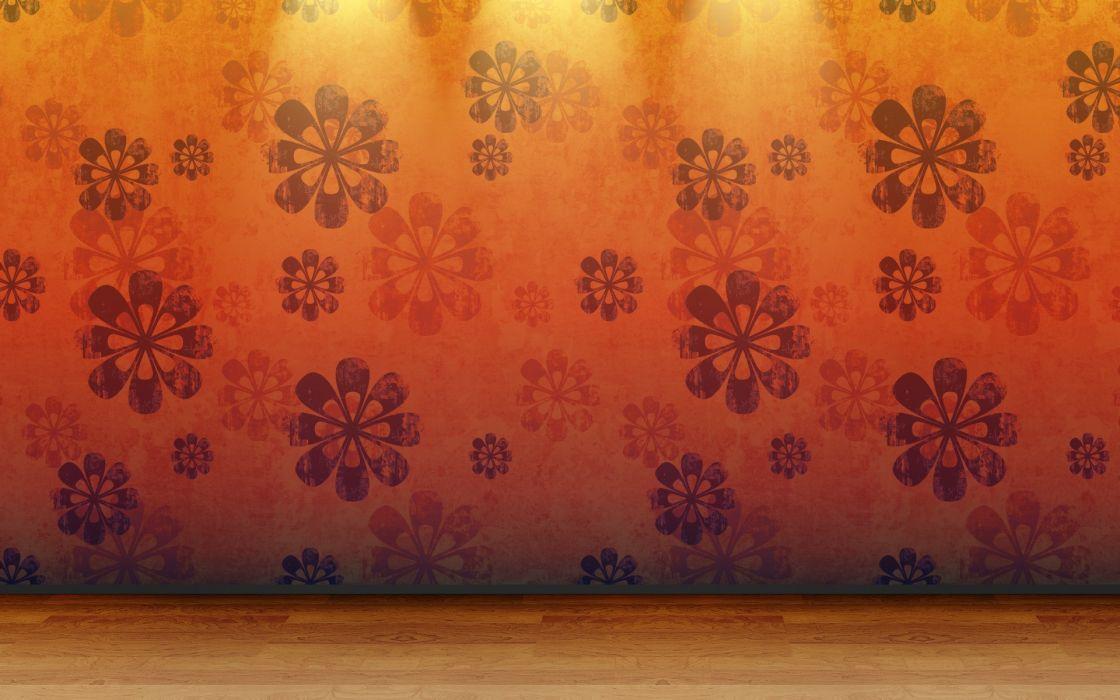 Floor 3d view orange room patterns wood floor wallpaper