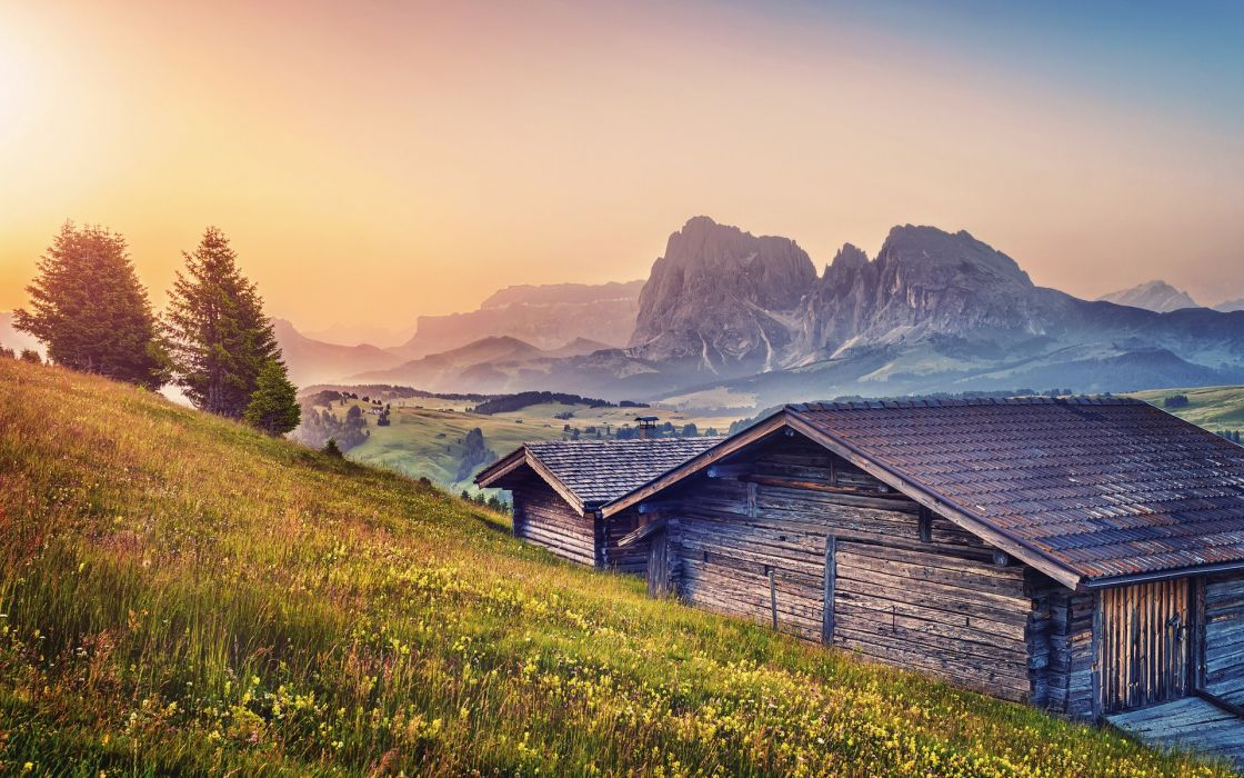 Landscapes houses wallpaper