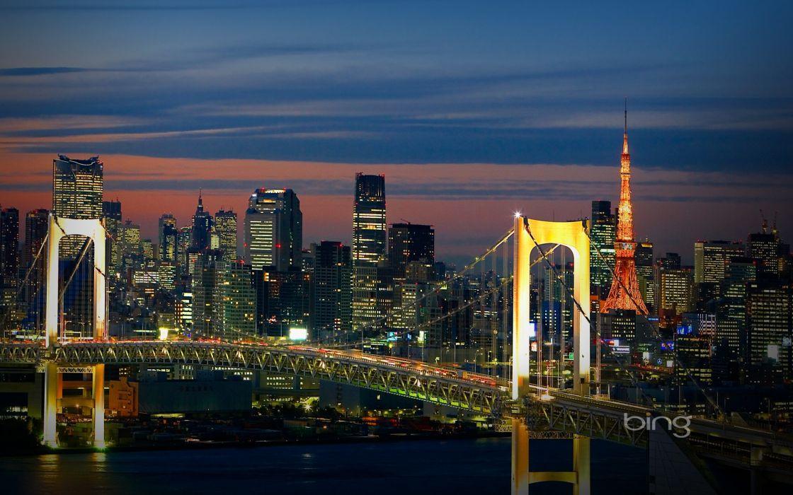 Landscapes tokyo skylines bridges cities wallpaper