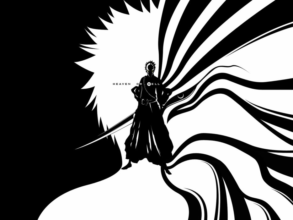 Black and white bleach kurosaki ichigo hell heaven hollow ichigo wallpaper