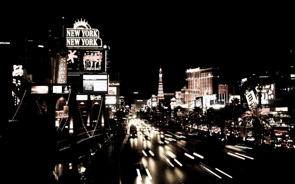 Black and white black cityscapes streets white cars las vegas urban buildings wallpaper