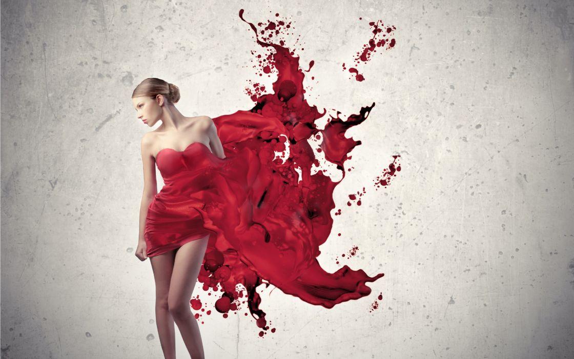 Women red dress wallpaper