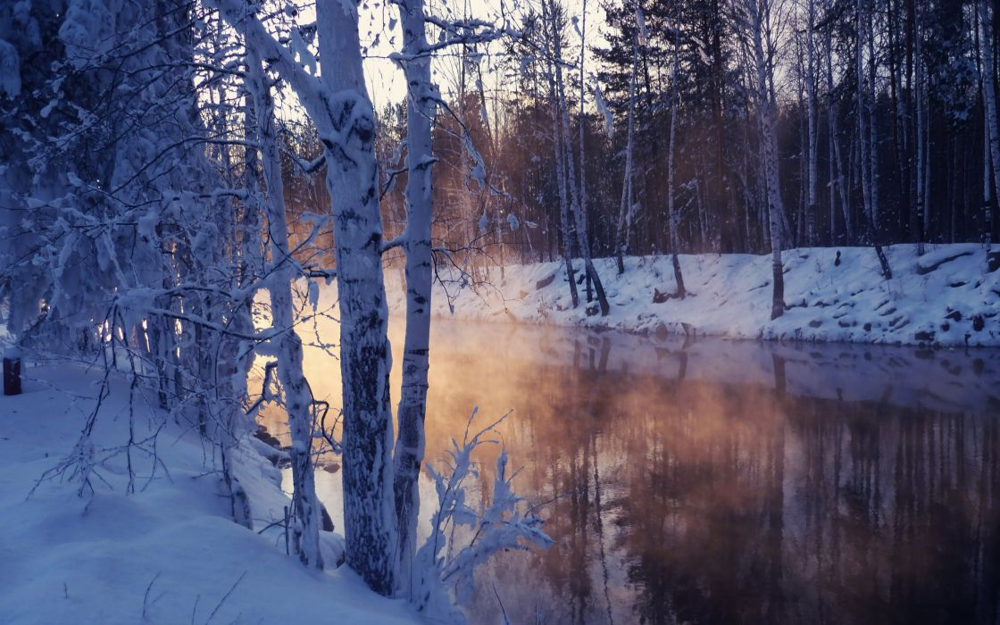 Nature winter (season) mist rivers wallpaper