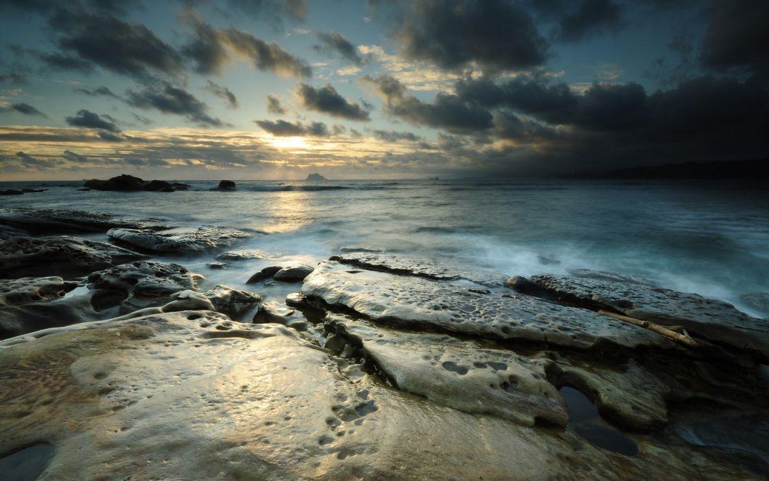Water nature beach rocks seascapes wallpaper