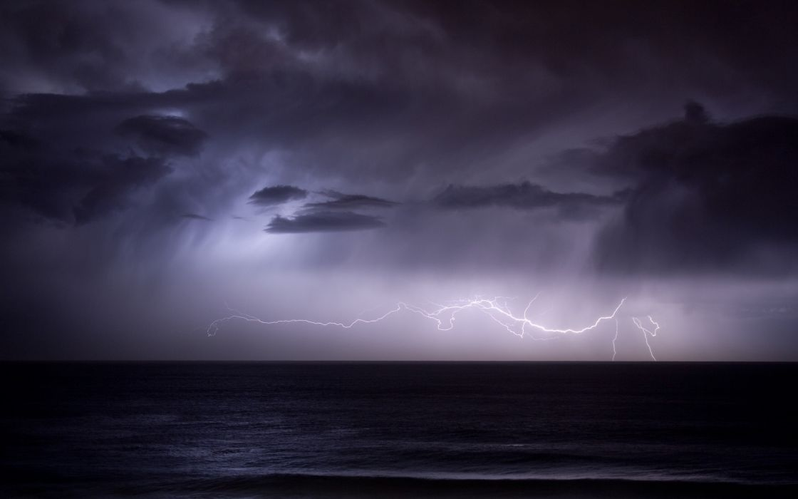 Ocean clouds nature seas dark rain storm wallpaper