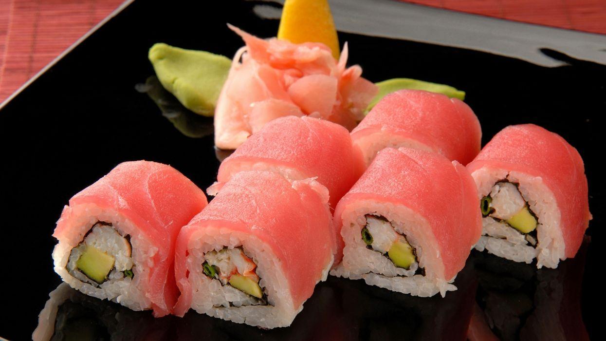 Food sushi maki roll sushi rolls wallpaper