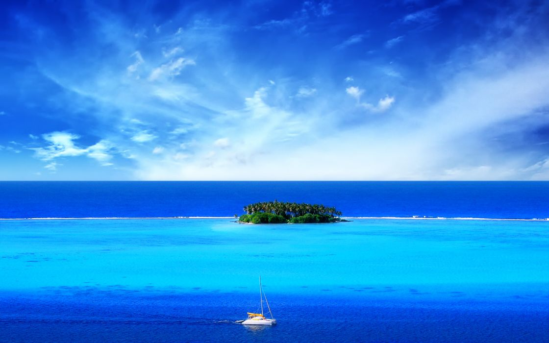 Ocean tropical islands boats vehicles wallpaper