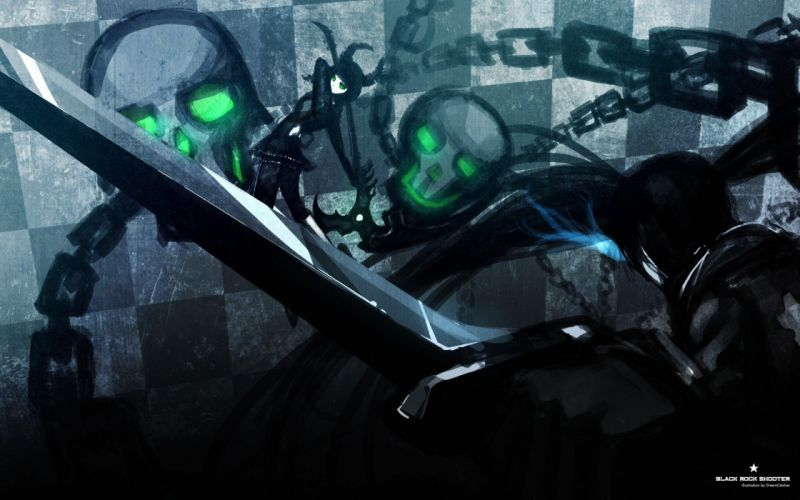 Skulls black rock shooter dead master paint twintails anime chains anime girls glowing eyes swords wallpaper