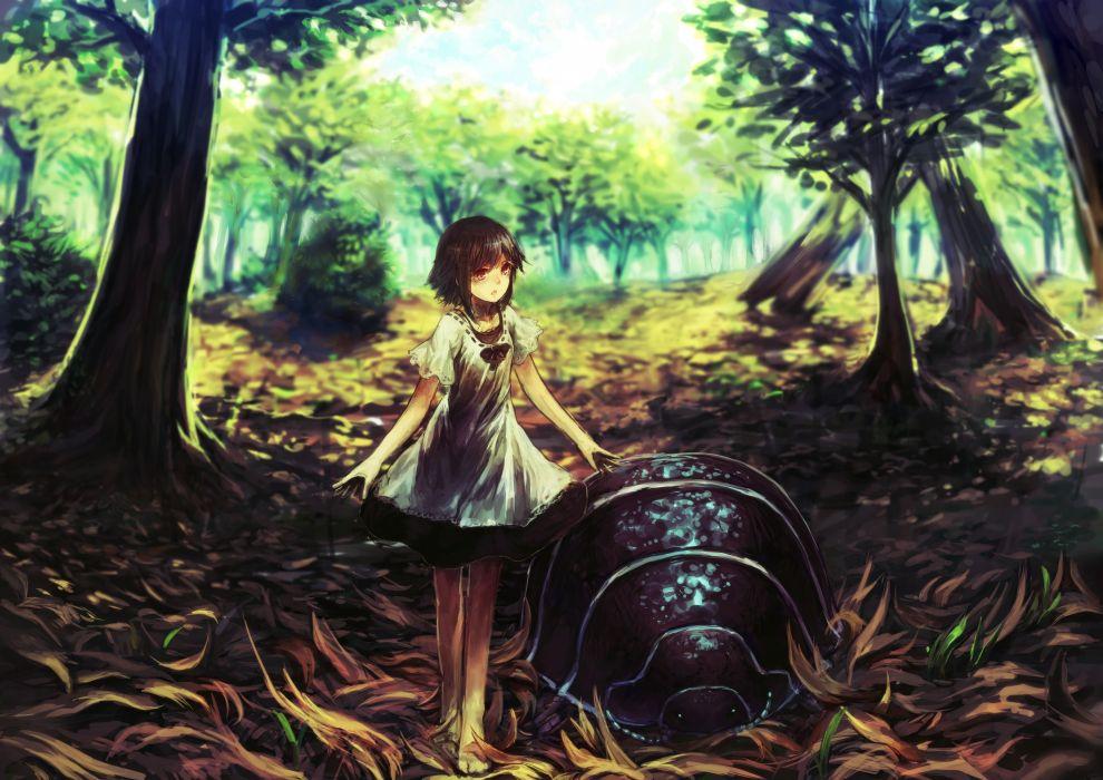 Trees wood forest bug anime anime girls wallpaper