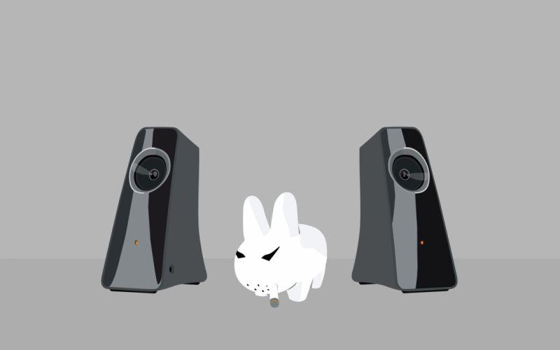 Smoking minimalistic music animals speakers rabbits pets simple wallpaper