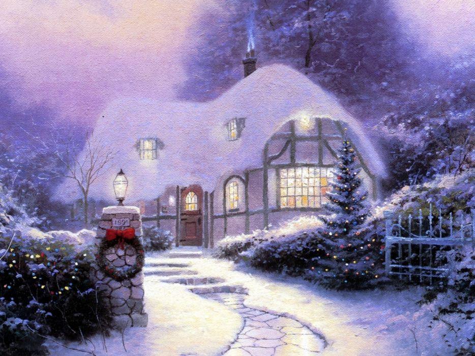 Winter (season) snow houses christmas artwork wallpaper