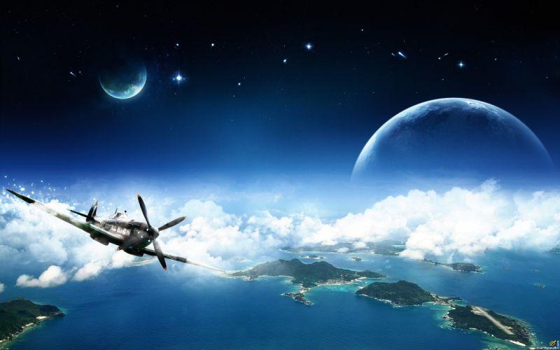 Outer space technology digital art artwork wallpaper