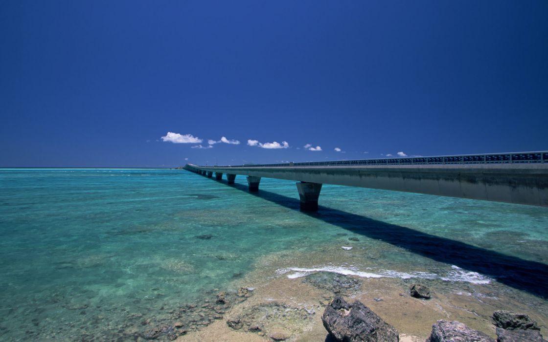 Water beach skylines seas rocks bridges okinawa blue skies wallpaper