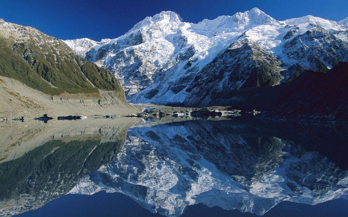 Mountains lake reflection wallpaper