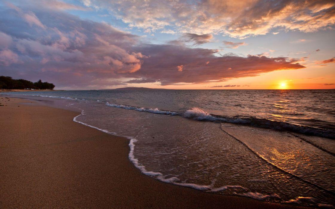Sunset landscapes beach wallpaper