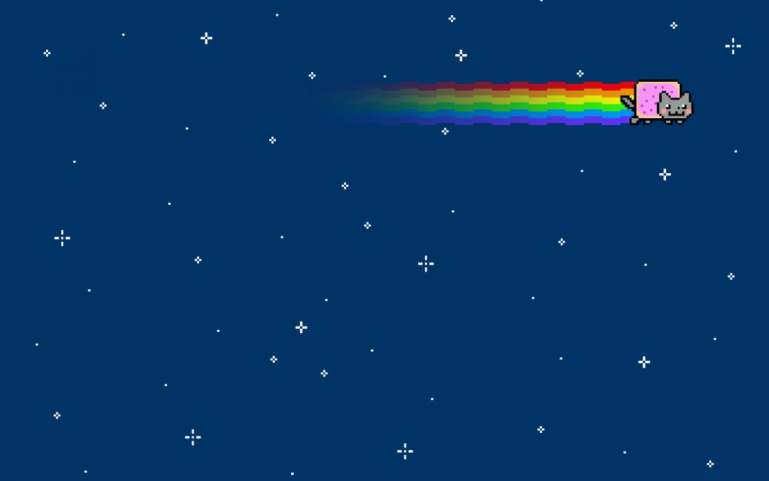 Outer space cats rainbows nyan cat wallpaper
