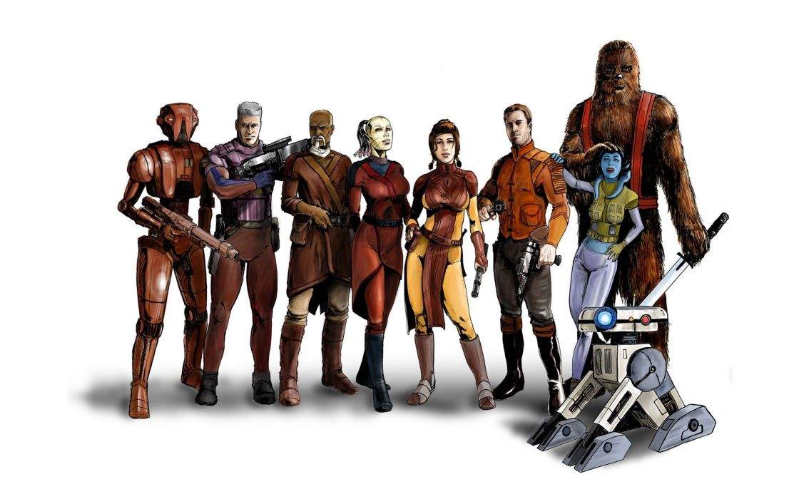 Star wars video games droid jedi party hk-47 knights of the old republic bastila shan wookiee mission wallpaper