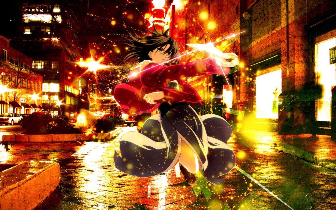 Kara no kyoukai cityscapes multicolor weapons knives anime girls wallpaper