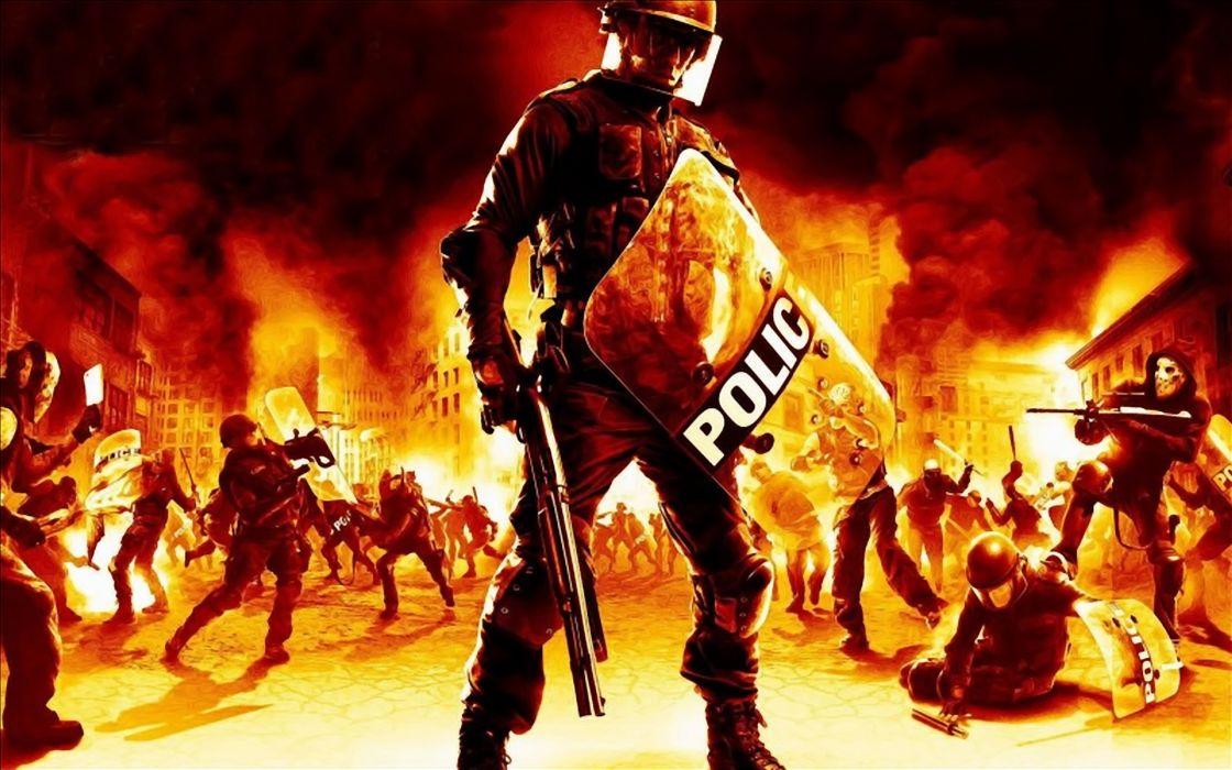 Riot police artwork wallpaper