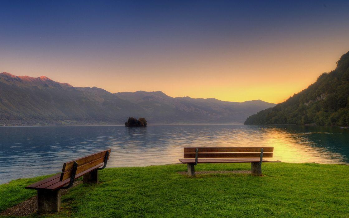 Sunset bench parks wallpaper