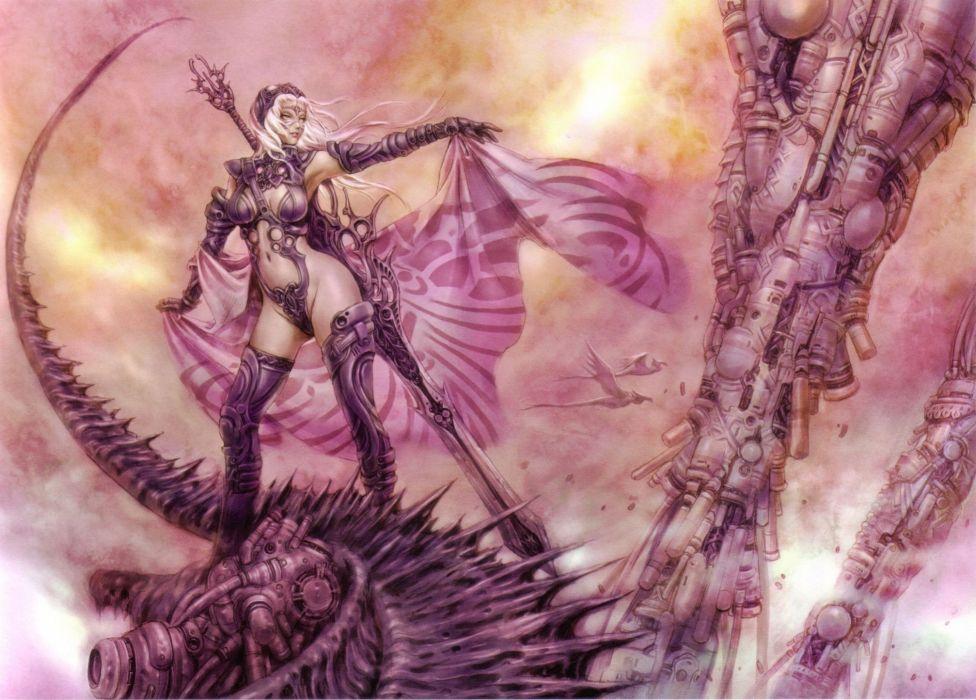Women fantasy shunya yamashita fantasy art swords wallpaper