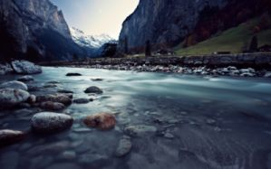 Water mountains landscapes nature snow valley rocks switzerland rivers wallpaper