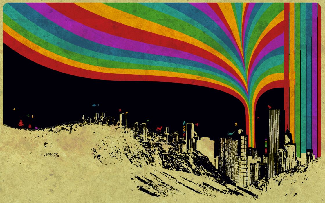 Urban rainbows artwork citylife wallpaper