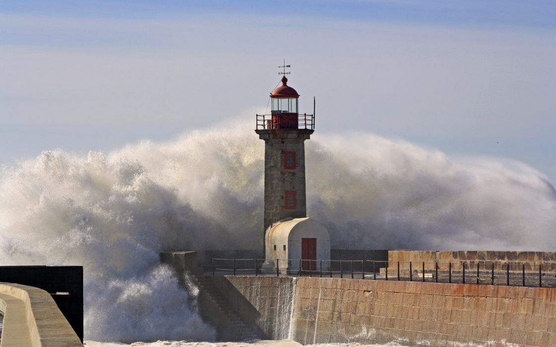 Waves storm lighthouses wallpaper