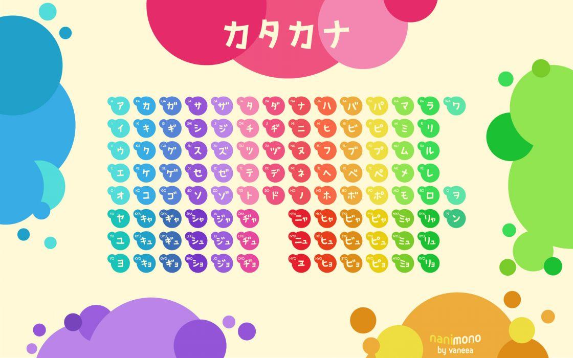 Circles tables typography rainbows katakana wallpaper