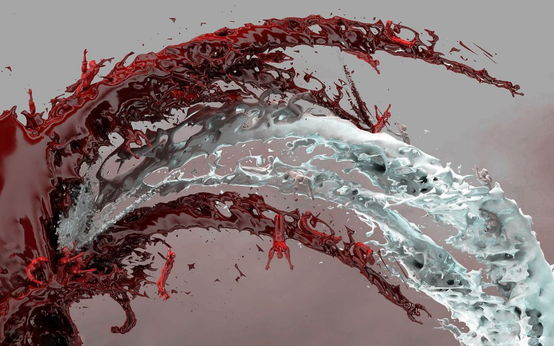 Water multicolor blood wallpaper