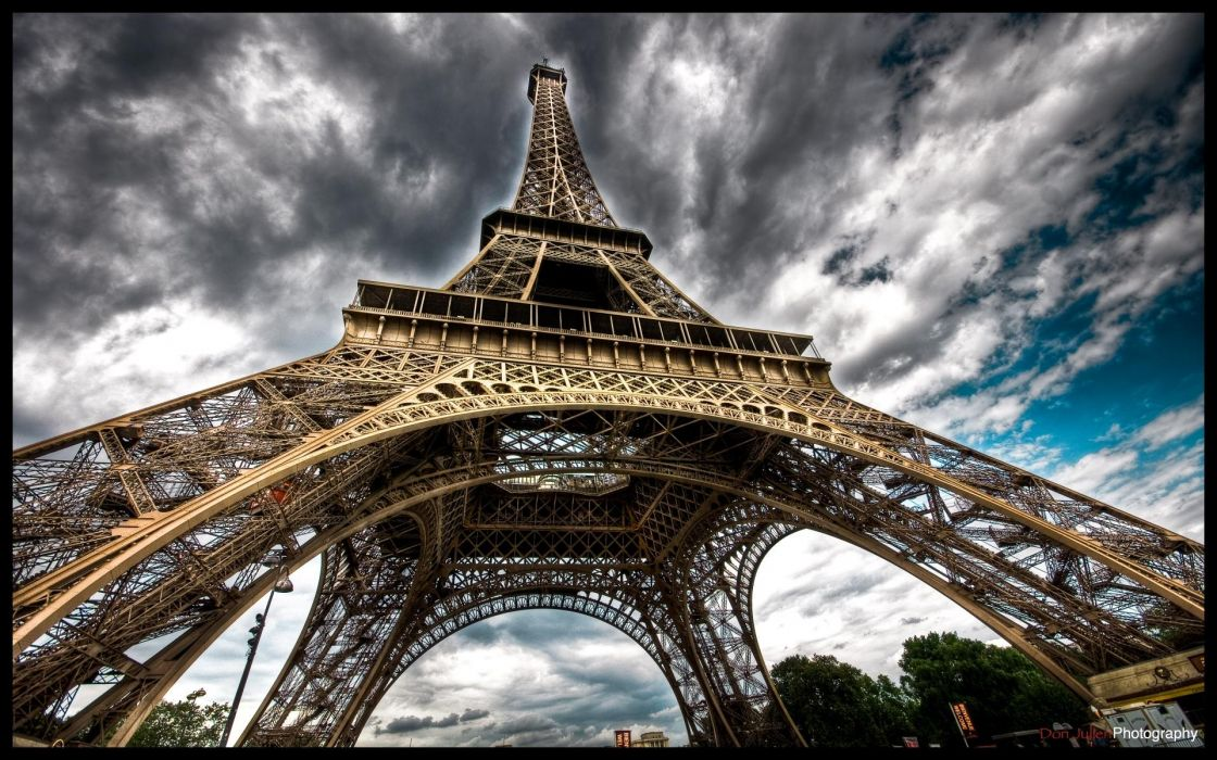 Eiffel tower paris clouds architecture france wallpaper