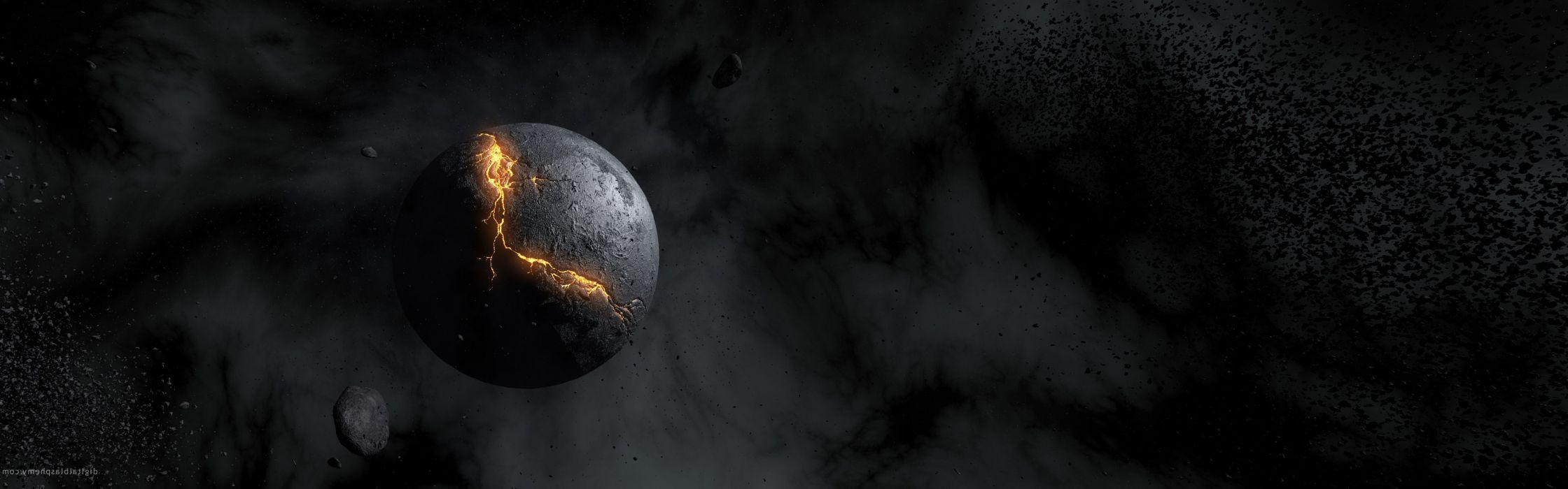 Outer space planets destruction crack wallpaper