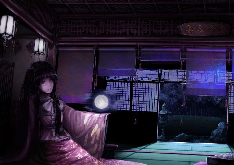 Video games touhou dark moon long hair houraisan kaguya anime girls black hair wallpaper